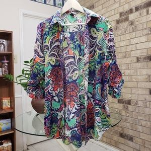 BEBE BUTTON DOWN LONG SLEEVE SHIRT/COVERALL